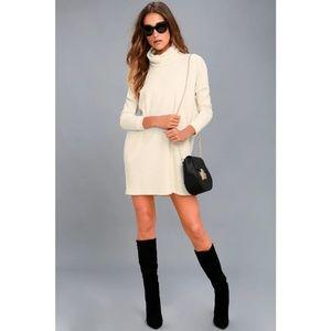 Lulu's Scheme of Things Cream Long Sleeve Dress